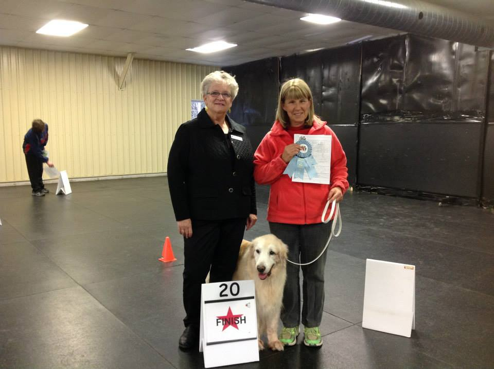 Our mascot Beamer with Owner Nancy Hatch displaying Beamer's Rally Novice Title Ribbon!